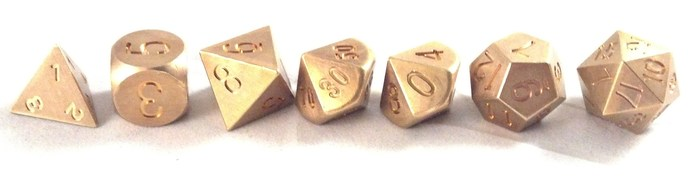 Precision Polyhedral Dice in Brass