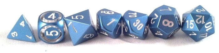 Precision Polyhedral Dice in Blue Anodized Aluminum