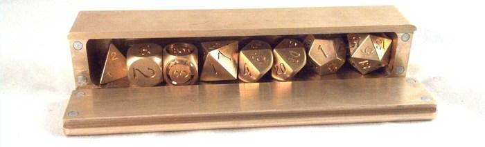 Brass 7-Dice Vault fitting 8 Brass Dice