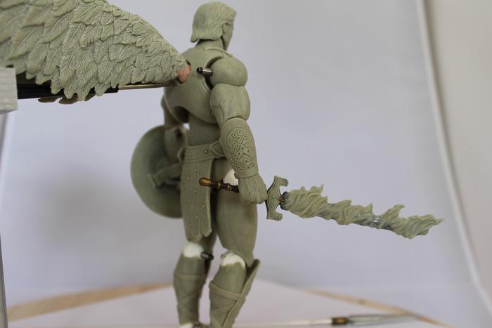7 inch Archangel Michael action figure, fire sword detail
