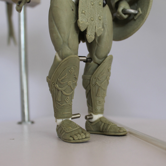 7 inch Archangel Michael action figure, shin guard details
