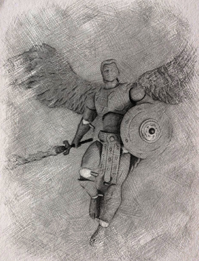 7 inch Archangel Michael action figure, concept sketch Rocco Tartamella