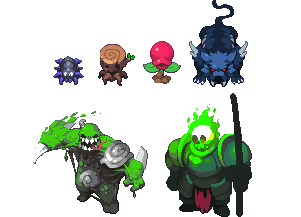 Spider, Torch, Eater, Ember Beast, King Slime and the Cursed Knight (Work in progress)