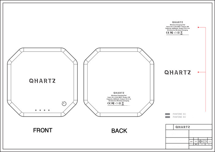 =QHARTZ= *Qi Wireless Charger, Elegant, Thin and Portable