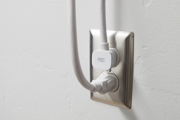 NOTE: The new design will now feature a 45º power plug instead of the 90º plug featured here, so you can easily plug in 2 MOS Reach into adjacent outlets.
