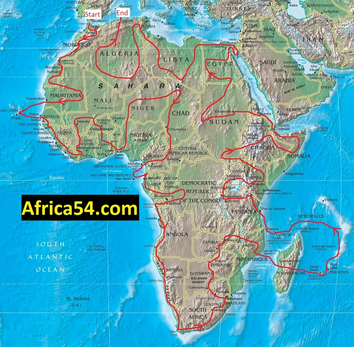 Francis Tapon's rough travel plan to see all 54 African countries from 2013 to 2017. He started in Morocco in March 2013 and he's been generally following the red line through 17 countries so far. In late July 2014, he'll be in Cameroon.