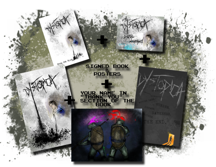 "The Book(signed)+Soundtrack+2 Posters(signed)+YOUR NAME in the ""Thank You"" page of book+Colored Art Commission"