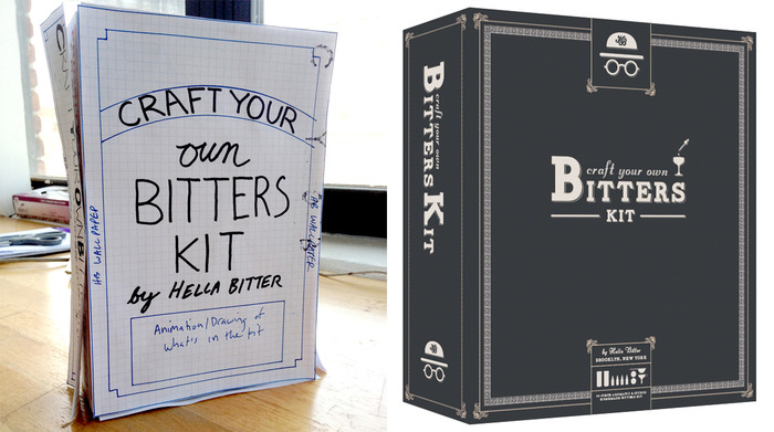 Here's a look at the packaging design process. Before and After.