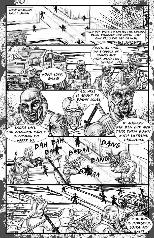 PAGE 1 - A THREE MAN FIRE TEAM IS DROPPED OFF IN THE CENTER OF TOWN.  THEIR MISSION IS TO DRAW AS MUCH ATTENTION TO THEMSELVES AS POSSIBLE, SO THEIR SUPPLY TEAM CAN RAID A NEARBY GAS STATION.