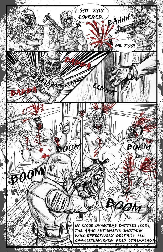 PAGE 2 - BREACH ENTERS THE PARTY BUS, AND BLOWS AWAY THE ZOMBIE BACHELOR PARTY.  RED HIGHLIGHTS OF BLOOD SPLATTER REALLY MAKE THE SCENE COME TO LIFE.