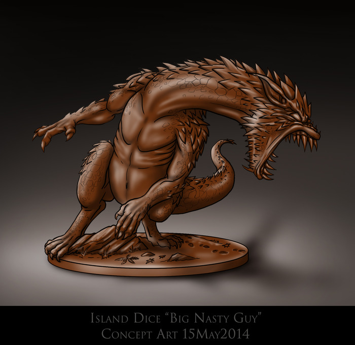 """Manje-Reken-Pou'manje-Maten"" aka Big Nasty Guy sculpted/molded game piece concept art"