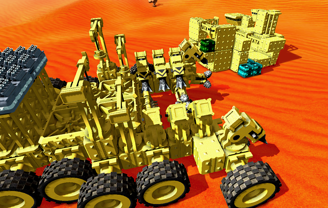 A large harvesting vehicle passes by a base