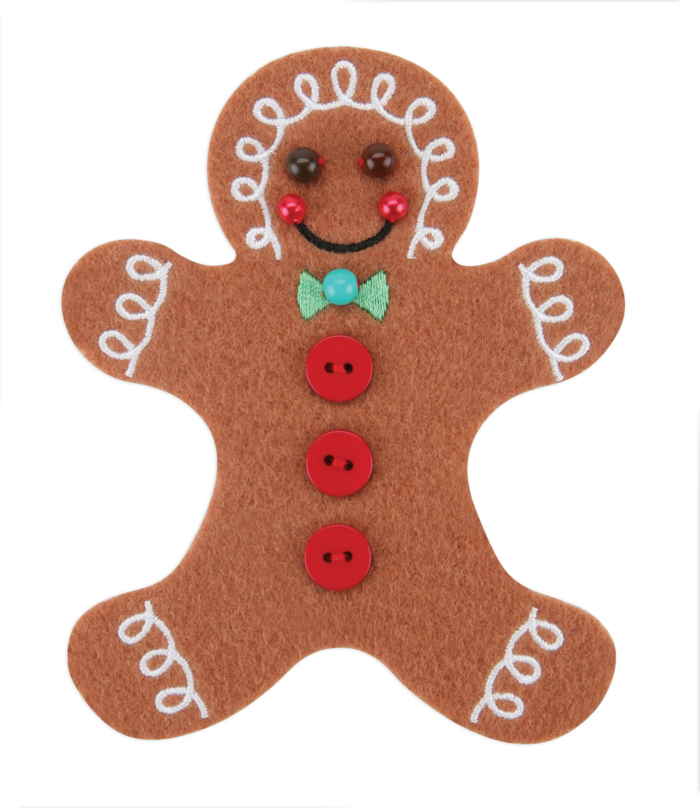 GINGER BREAD GUY - 5  inches high- STICK-ON FELT PATCH ($12 PLEDGE - INCLUDES BONUS G MAN PATCH)