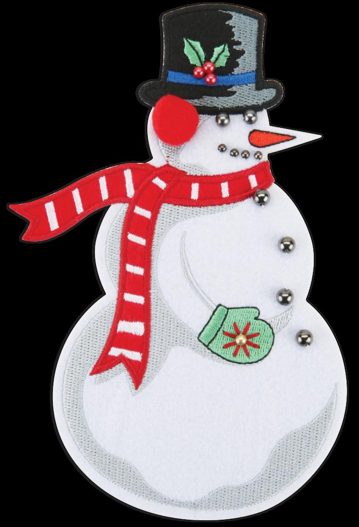 CLASSIC SNOWMAN - 7 inches high- STICK-ON FELT PATCH ($12 PLEDGE - INCLUDES BONUS G MAN PATCH)