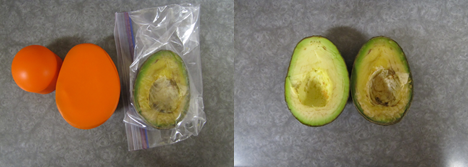 This avocado was cut in half. The half on the left was covered by a Seally Cap. The half on the right was stuck in a plastic bag. After 5 days here are the results.