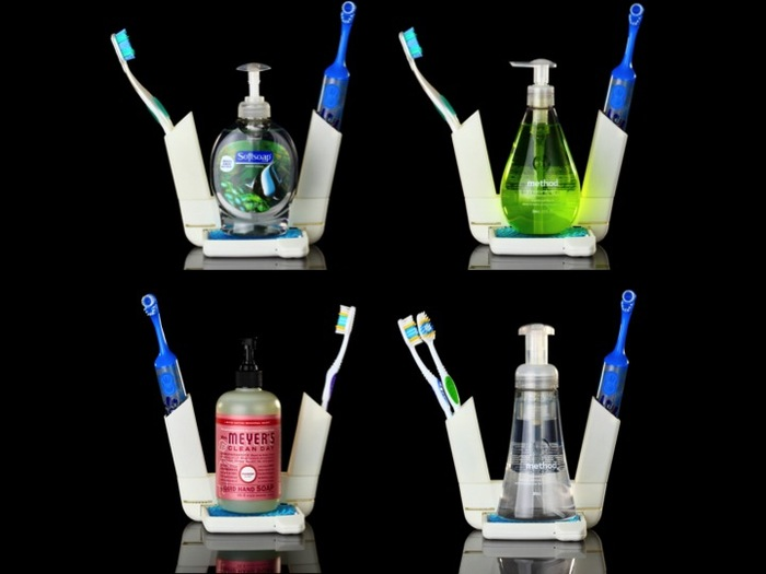 Thoughtfully designed to fit virtually all toothbrushes and soap dispensers