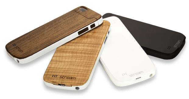 iPhone 5/5s Stream cases are available in premium figured maple and rich walnut in addition to the elegant black and white versions