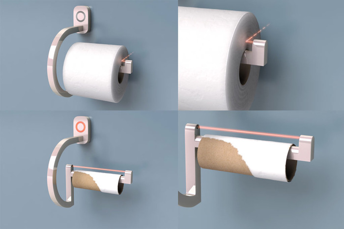 RollScout's infrared toilet paper system