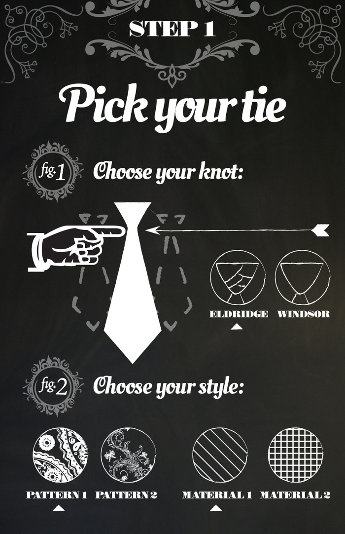 First you select your knot and material. For the kickstarter limited edition tie, we are offering black silk ties with the Eldredge knot