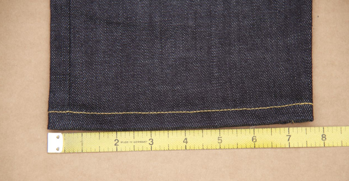 """LEG OPENING: This measurement was taken from our mens size 34. Measure straight across the cuff and multiply by two. This jeans opening is 15.25""""."""