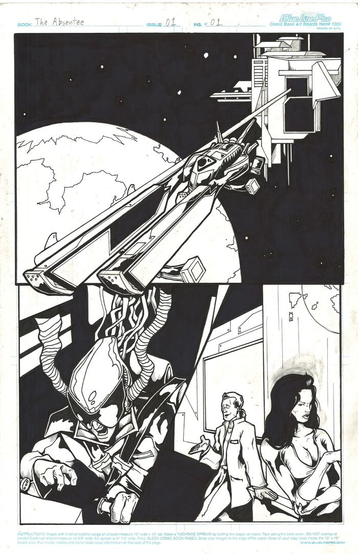 """Original Pencils & Inks for Page 1 of The Absentee 1 (11"""" x 17"""") Available NOW at the $65 Reward Tier!"""