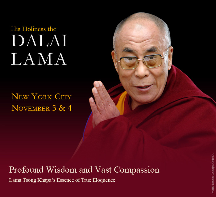 Prime seating for two to attend His Holiness the Dalai Lama's teaching in NYC