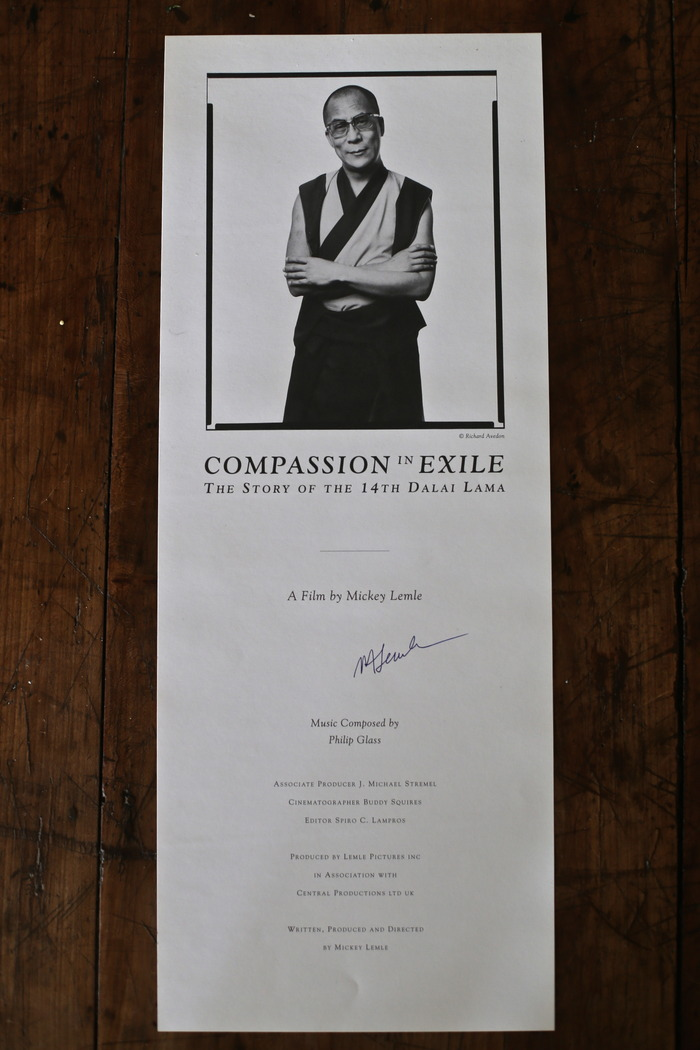 Original signed posters from COMPASSION IN EXILE: They Story of the 14th Dalai Lama