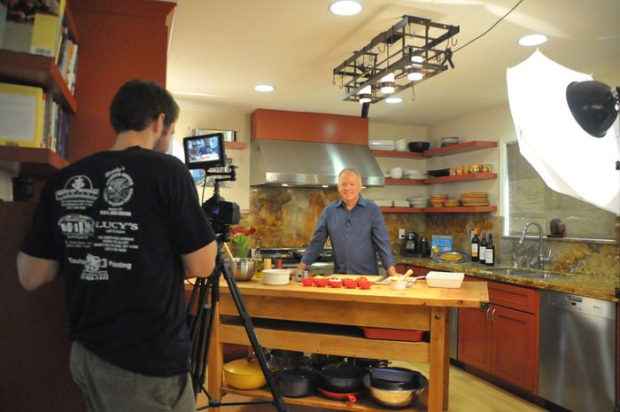 Behind the scenes of the pilot shoot in Chef Darling's kitchen