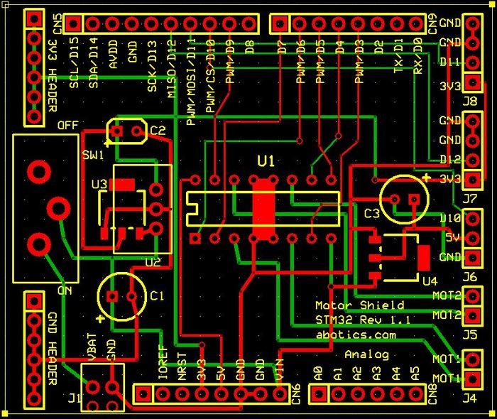Apeiros motor & sensor shield board layout