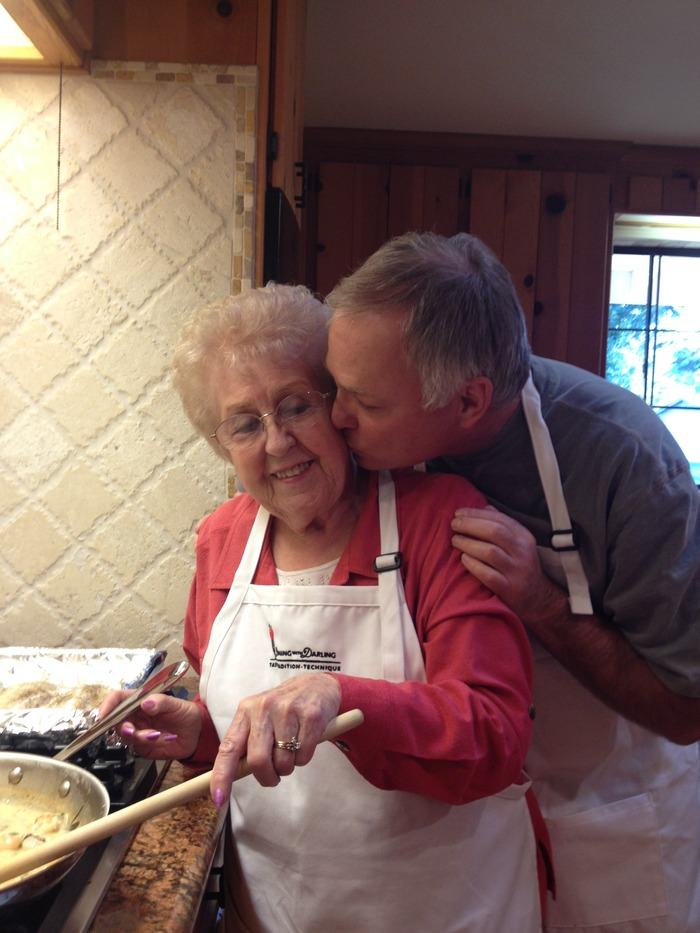 Chef Darling in the kitchen with his mom, Fern.