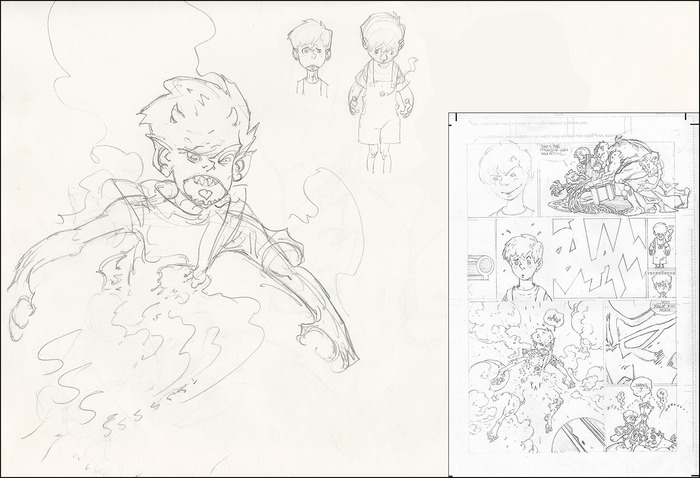 Sample layout showing sketchbook material alongside the imagery in its final, pencilled form. The finished book will also have background notes by P. Craig Russell on almost every page.