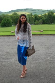lace top and metallic skirt