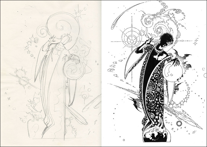 Sample layout showing sketchbook material alongside the imagery in its final form. The finished book will also have background notes by P. Craig Russell on almost every page.