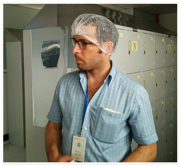 Factory cleanliness standards are impeccable – here's Yonatan rocking the hairnet.