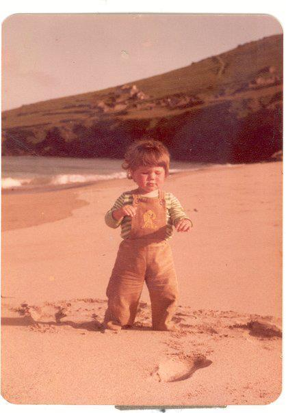 Simon on the white strand, while growing up on the Blasket island.