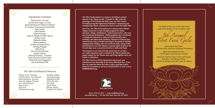 Attend the annual Tibet Fund Gala.