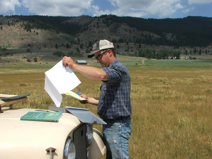 Spencer in the Big Meadow monitoring location on Springs Ranch getting ready for hours of dart throwing and data collection. Yay!
