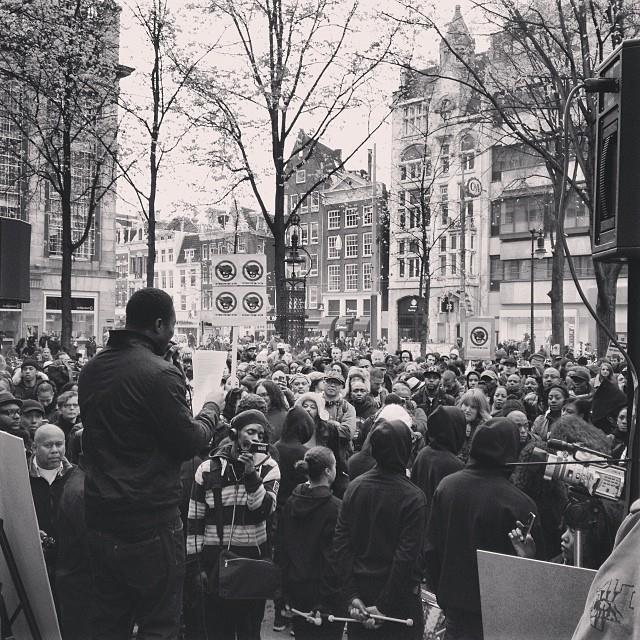 Zwarte Piet is Racisme activist Kno'Ledge Cesar at Zwarte Piet Niet Demonstration, Amsterdam, NL ca. 2013 | Photo Credit: Shantrelle P. Lewis