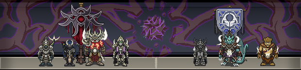 The two factions in the Primal War. From the left, the Levias consisting of the Kimera, Genauts, Volkah, and Lumeri. To the right, the Signavera, consisting of Humans, the Bultharos Dragon Knights, and the Wildekin.