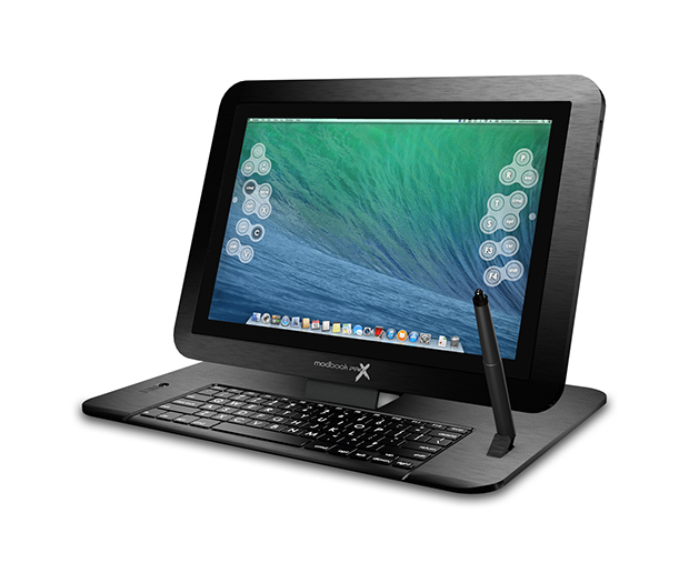 Modbook Pro X mounted on detachable Keyboard Stand