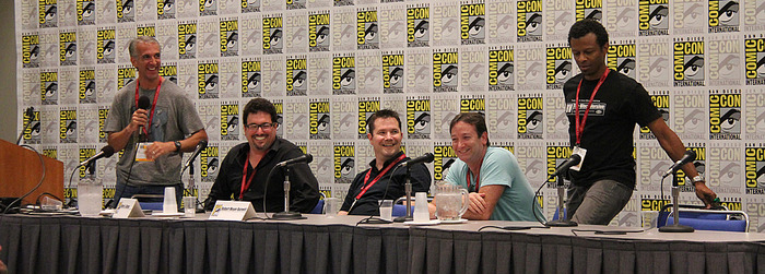 """Mantz, Altman and """"Burnett"""" welcome FREE ENTERPRISE series pilot director David Rogers (seated) and the feature film's co-star Phil LaMarr at the San Diego Comic-Con anniversary session."""
