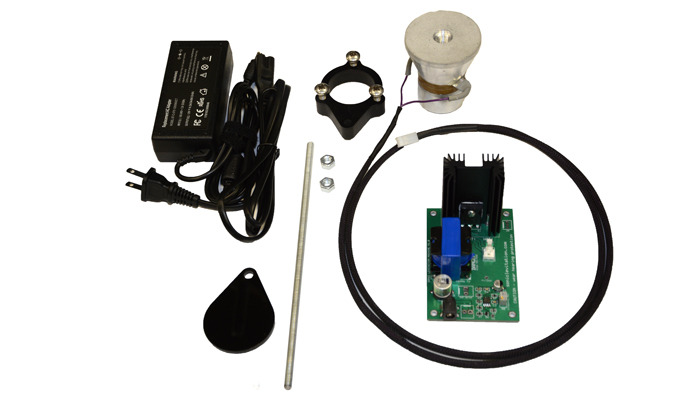 Sonic Levitation Kit includes power supply, driver board, ultrasonic transducer and reflector stand.