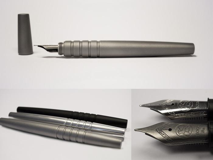 Nexus Titanium (Top), Aluminium & Titanium Comparison (Bottom Left), Steel & Titanium Nib Comparison (Bottom Right)