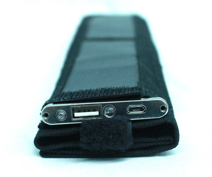 Sun Strap has a USB output, LED battery indicator and a USB input.