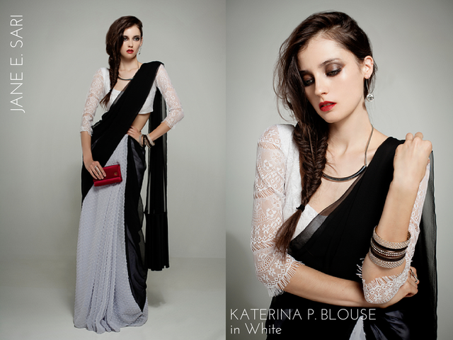 The righteousness of Jane E. and the opportunism of Katerina P. emulsify in this sly and sleek sari ensemble of swiss dot, chiffon, velvet and lace. (Get this outfit with the J&K Babe Pack reward.)