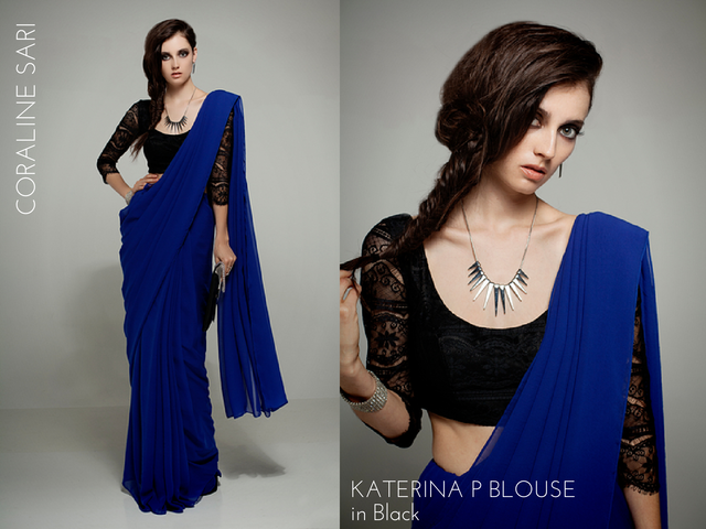 The curiosity in Coraline and the charlatan in Katerina P., all rolled up into one effortlessly cool, chiffon and lace sari set. (Get this outfit with the C&K Babe Pack reward.)