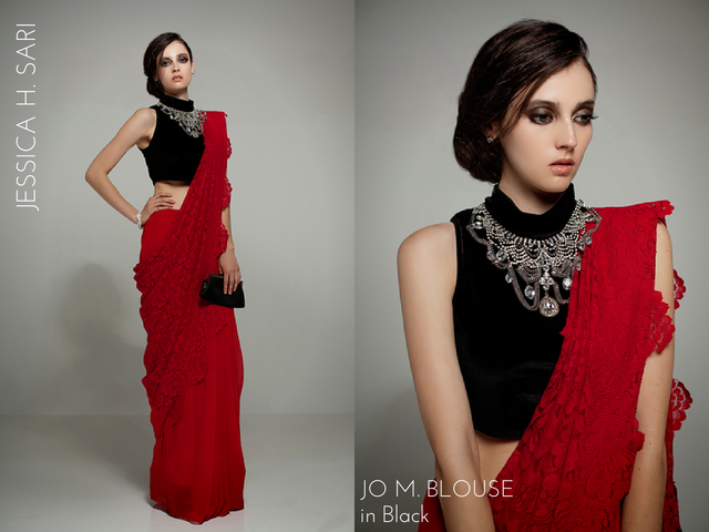 Jessica's ardor is paired with Jo's tenacity in this upscaled and striking sari ensemble of lace, chiffon and velvet. (Get this outfit with the J&J Babe Pack reward.)
