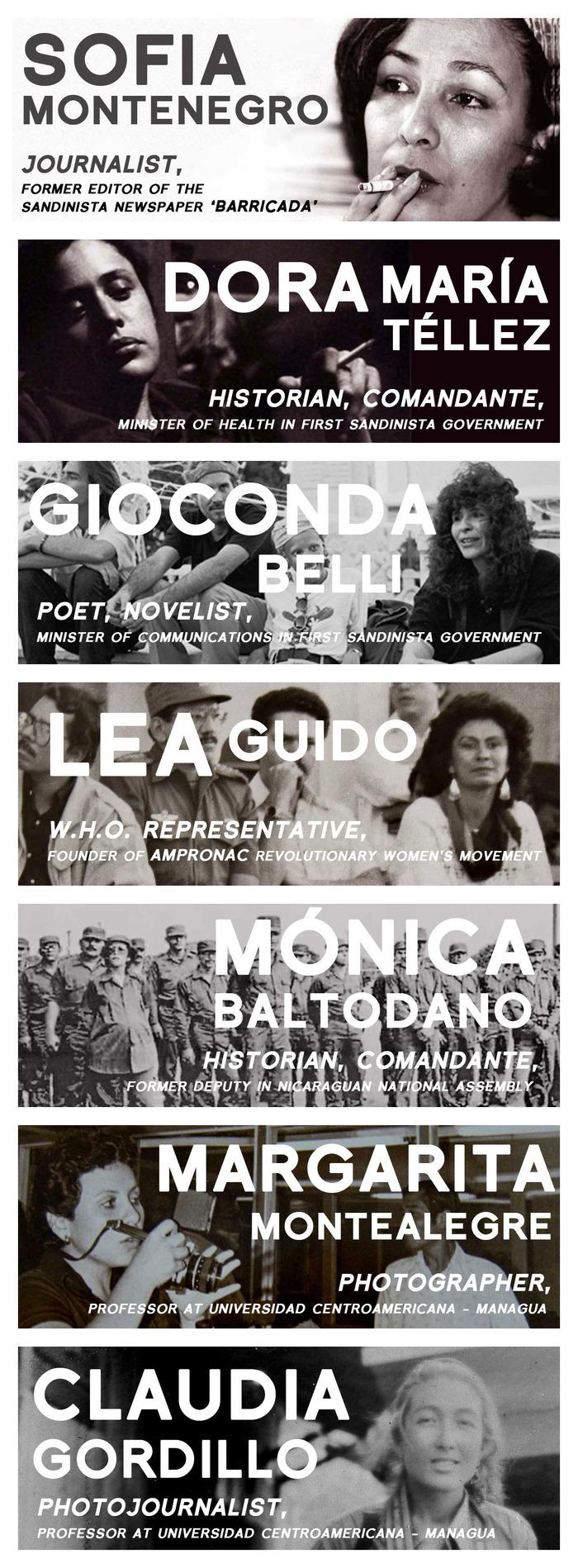 Images of Sofia and Dora María by Margaret Randall, Margarita courtesy of Margarita I. Montealegre, Claudia courtesy of Claudia Gordillo
