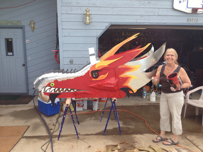 Gail painted the Dragon head today !!!