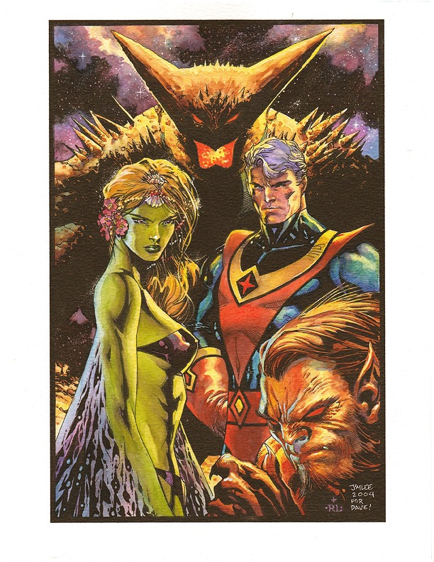 Jim Lee's drawing printed on watercolor paper and hand painted in watercolor by Ray Lago